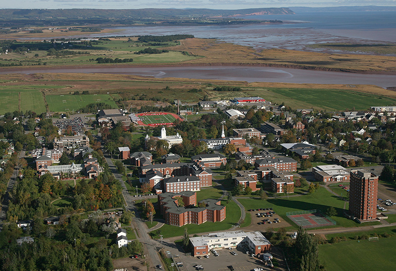 Aerial view of the Acadia University campus